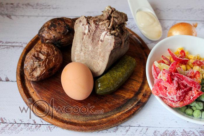 ингредиенты для салата с языком