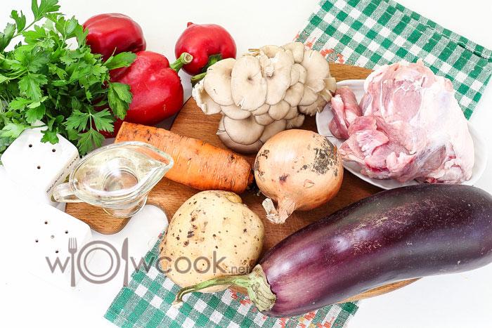 ингредиенты для супа с баклажанами и грибами