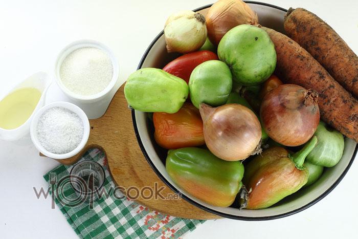 ингредиенты для зеленых помидор на зиму