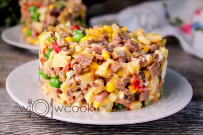 Салат с языком и маринованными огурцами, самый вкусный рецепт