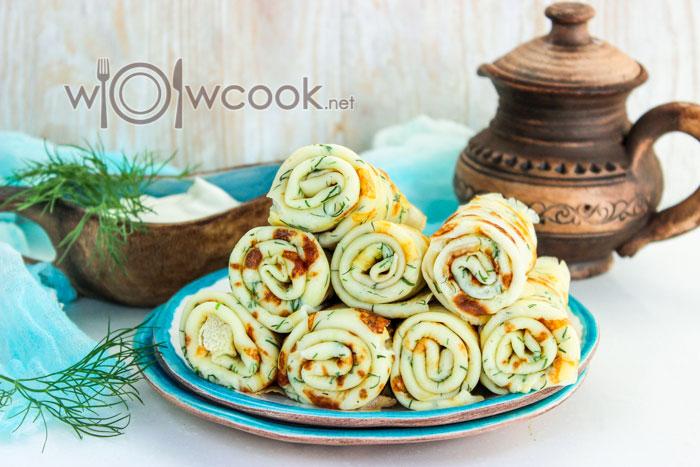 Блины с сыром и зеленью рецепт с фото