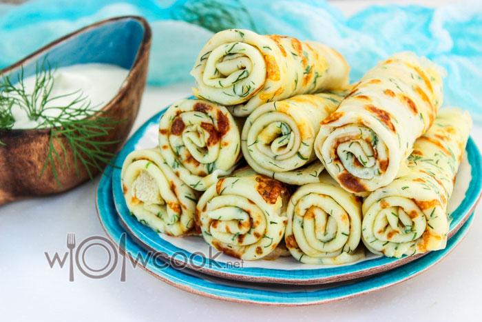Вкусные блины с сыром и зеленью на кефире