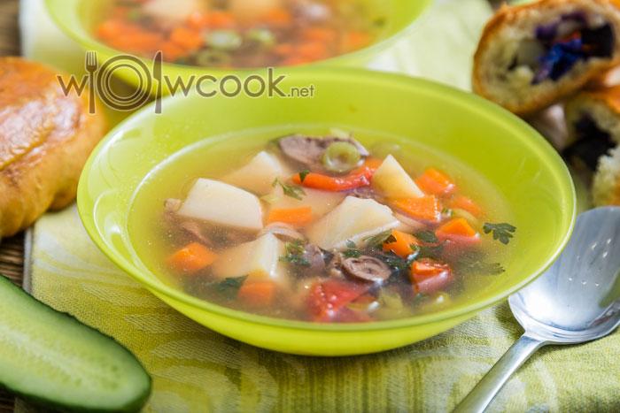суп из куриной печени с гречкой