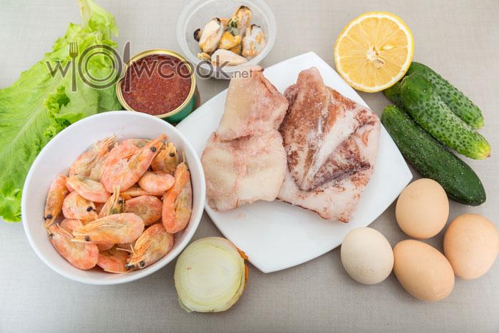 салат царский с кальмарами и креветками, ингредиенты