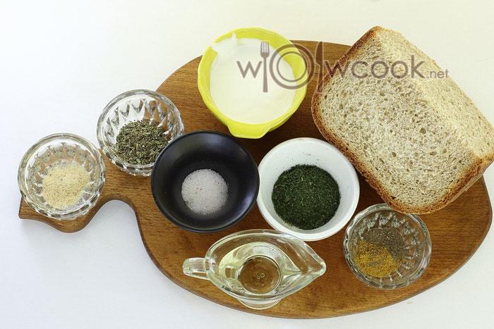 ингредиенты для сухариков с чесноком