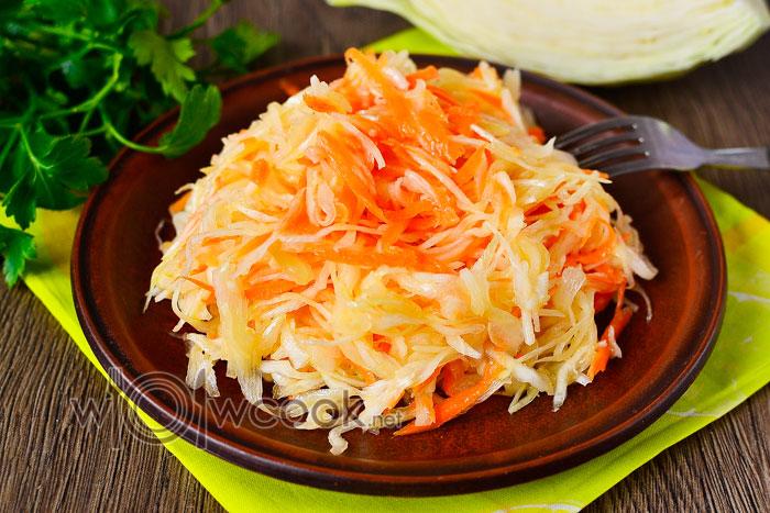 Салат из свежей капусты с уксусом как в столовой