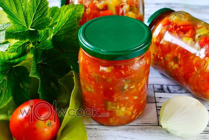 салат с кабачками, помидорами и болгарским перцем