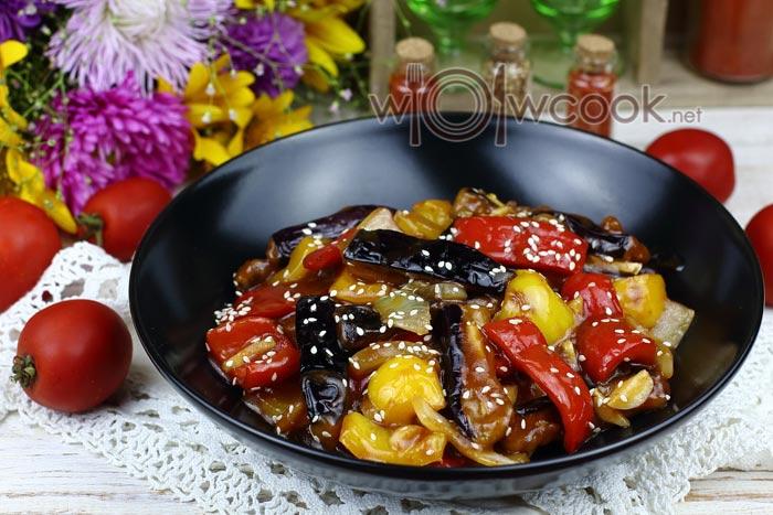 Баклажаны по китайски в кисло сладком соусе, рецепт с фото