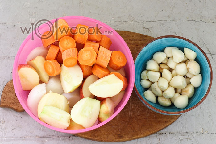 морковь, яблоки, чеснок