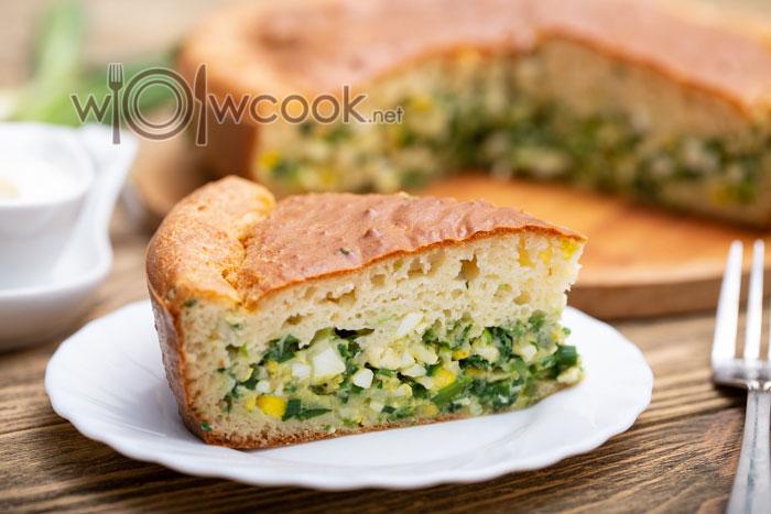 заливной пирог с яйцом и зеленым луком