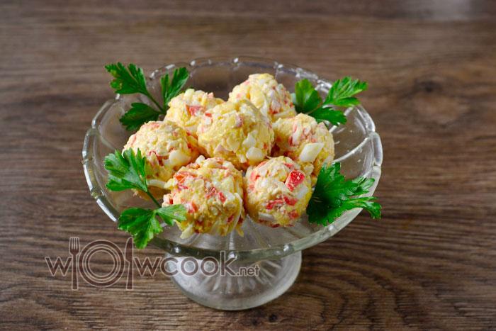 крабовые шарики с сыром и чесноком рецепт