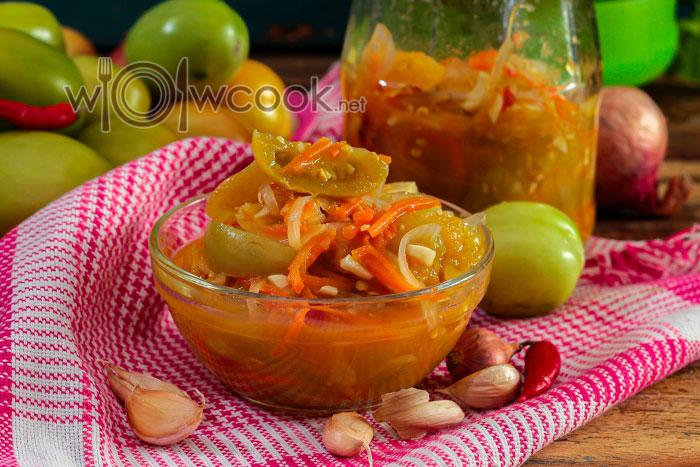 Салат из зеленых помидор на зиму, 5 лучших рецептов с фото